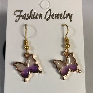 Gold With purple and white butterfly earrings